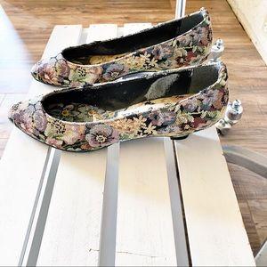 Garden Floral Tapestry Kitten Heels | Vintage